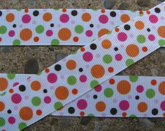 """3y Fall Ribbon Printed Ribbon Fall Polka Dots Ribbon 7/8"""" Hair Bow Ribbon"""