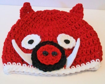 Bright Red Wild Pig Arkansas Razorback Inspired Crocheted Baby and Childrens Hat Great Photo Prop 5 Sizes Available