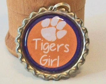 Fun Orange and Purple Paw Print Clemson Inspired Tigers Girl Flattened Bottlecap Pendant Necklace