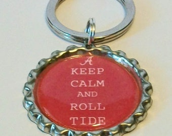 Keep Calm and Roll Tide Alabama Inspired Metal Flattened Bottlecap Keychain
