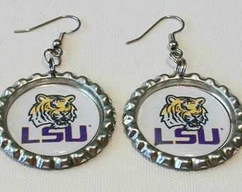 Purple and White LSU Tigers Inspired Metal Flattened Bottlecap Dangle Earrings