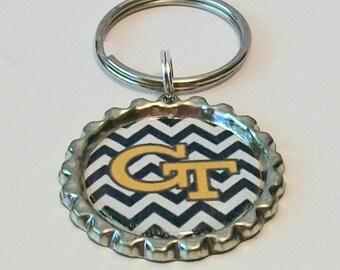 Chevron Stripes Black and Gold Georgia Tech Inspired Metal Flattened Bottlecap Keychain