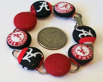 Unique Alabama Inspired Crimson and White Fabric Button Bracelet