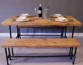 Industrial Urban Reclaimed Wood Dining / Kitchen Table with Raw Charcoal Pipe Legs - FREE SHIPPING. Built by Hand. Guaranteed for Life. - DendroCo