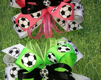 Soccer Bow - Neon Colors - Green, Pink or Orange