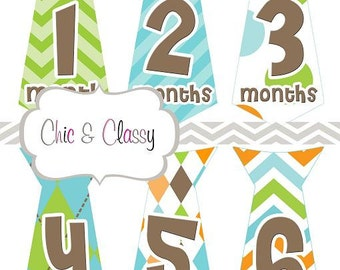 Baby boy gifts, Monthly Tie Stickers, milestone ties, baby shower gifts, gifts for boys, baby boy gifts - Set of 12 - INSTANT DOWNLOAD-MS012