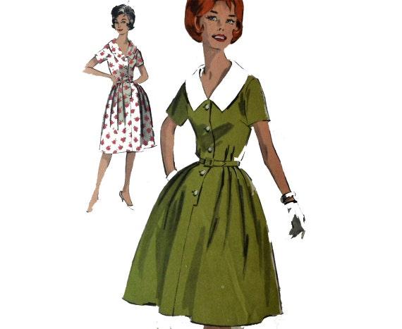 Vintage des années 50 robe motif jupe rétro Rockabilly des années 60 robe  motif bouton avant