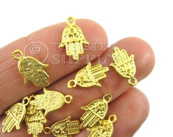 10 pc Mini Hamsa Hand Charms, Matte 22K Gold Plated Brass Turkish Jewelry