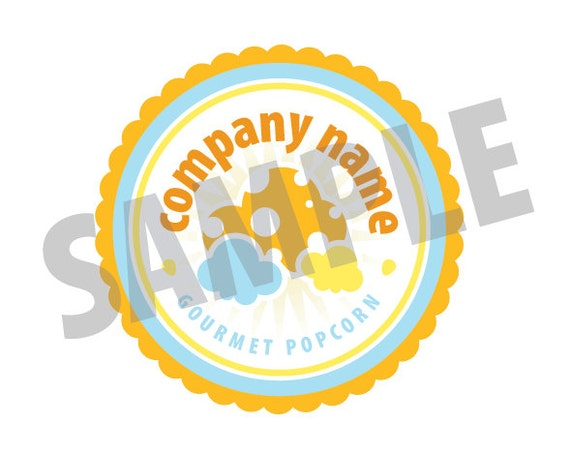 Items similar to Round Gourmet Popcorn Pre-Fab Logo for a ...