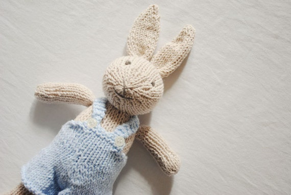 Hand Knitted Toys : Hand knit bunny knitted toy stuffed animal rabbit