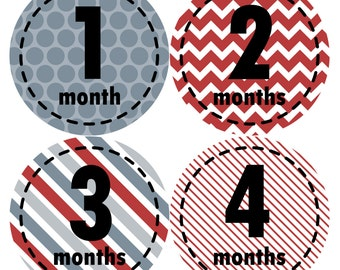 Baby Month Stickers, Baby Boy Gift, Milestone Stickers, Monthly Sticker, Monthly Baby Boy Stickers, Baby Month Milestone Stickers 261