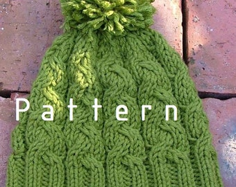 Knitting+Pattern+Green+Hat+with Pom-Pom/Boys/Adult