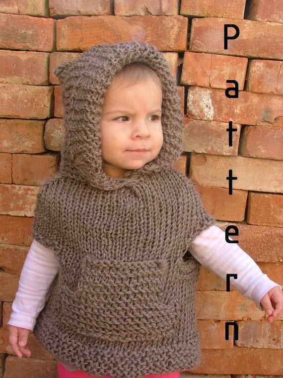 Items similar to Knitting PATTERN-The Camel Brown Poncho/Toddler on Etsy