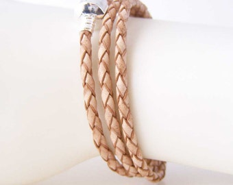 Natural Bolo Woven Leather European Style Triple Wrap Bracelet