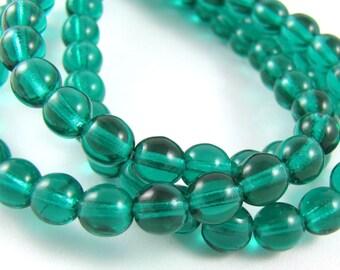 Emerald Green 6mm Smooth Round Czech Glass Beads #1710