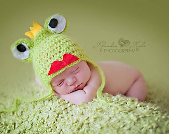 Newborn Frog Hat Boy Girl Photo Prop Cute Baby Hat Great Photography Props