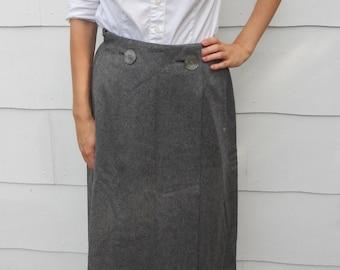 Vintage 1950's Evan Picone New York Gray Wool Skirt (#16-6)