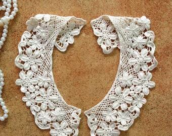 Cotton Collar, Beige Daisy Flower Collar, Collar Appliques, 1 Pair
