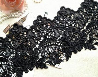 Gorgeous Black Venice Lace Vintage Rose Lace Trim for Altered Couture, Jewelry Supply, Home Decor