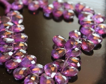 Purple Amethyst Faceted Pear Briolettes, 9 - 10 mm, 6 beads GM0101FP/10/6 # 51