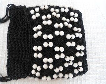 Black Crocheted and White Beaded Hipster Crossbody Mod 60s 70s Purse
