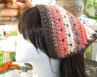 Crochet Kerchief Bandana blended brown, peach and off white