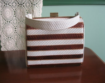 1950's Brown and White Striped Snakeskin Box Bag