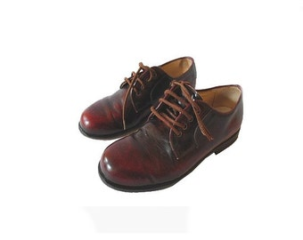 FRENCH vtg 50s KID  brown  Oxfords SHOES  // Size us 2