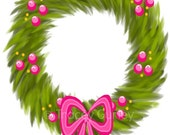 Wreath with Pink Berries and Pink Bow- Original art download 3 files, Valentine's Day