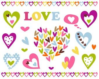 Valentine's Day Digital Clip Art, Love Digital Clip Art, Hearts Digital Clipart Pack, Instant Download - YDC116