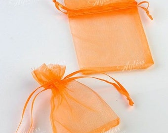 100  3.54''x4.72'' Orange Organza Jewelry Gift Pouch Bags Great For Wedding favors, sachets, beads, jewelry, and more