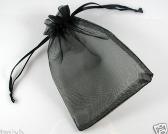 50  5''x7'' Black Organza Jewelry Gift Pouch Bags Great For Wedding favors, sachets, beads, jewelry, and more