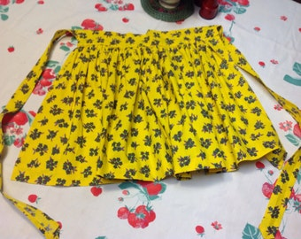 Vintage Hand Made Yellow Apron With Flowers