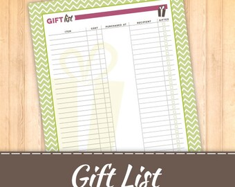 Gift List, Wish List
