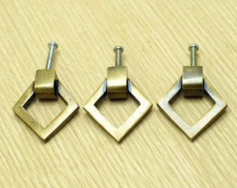 Lot of 3 pcs vintage Retro Triangular layers Solid Brass Cabinet Door handle KNOB Drawer Pull