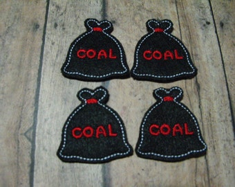 Coal Bag felties, feltie, machine embroidered, felt applique, felt embellishment, scrapbook embellishment, hairbow center