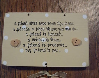 Shabby Personalised wooden chic Special Friend gift... Best Friend.. Birthday