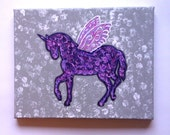 Unicorn with wings fashionable acrylic canvas painting for trendy girls room