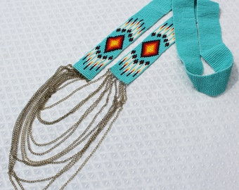native print bead and chain necklace