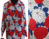 SALE Vintage 60s Women Red Blue and White Floral Long Sleeve Shirt Top Blouse - LARGE