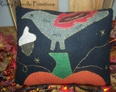 Wool Felt Appliqued Crow Pumpkin Pillow