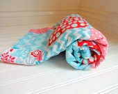 Minky Girl Patchwork Quilt - Michael Miller Forest Life  - Aqua, Pink, Red  - Ready to Ship - Baby Quilt - Baby Blanket - Minky Baby Blanket - InfantlyCuteBoutique
