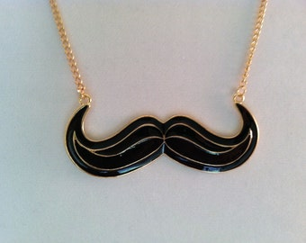 Black Mustache Necklace-Fun Enameled Facial Hair Necklace Jewelry