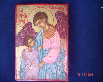 byzantine .orthodox .guardian angel.greek icon.archangel gabriel.angel gabriel.christian icon.gift. religious.hand painted .