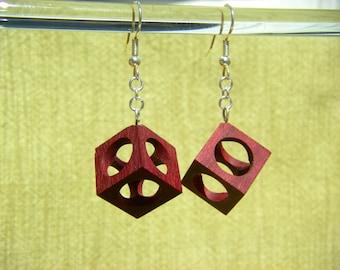 Hollow Cube Purpleheart Wood Earrings