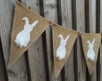 Easter Bunny Banner Easter Garland Easter Burlap Banner Easter Banner Easter Decor Burlap Bunting Rustic Easter Burlap Garland Bunny Garland