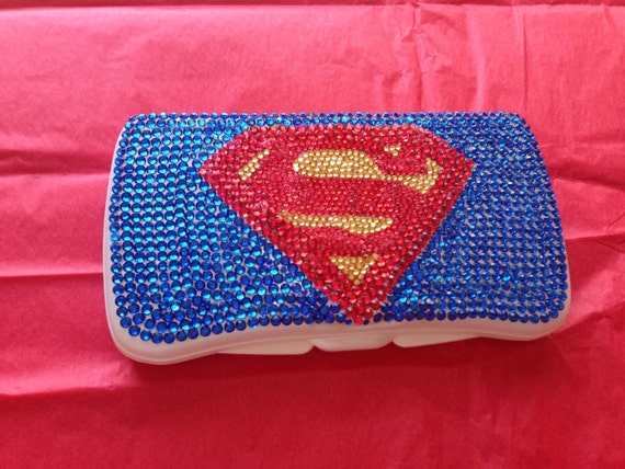 Rhinestone Baby Wipe Case in Super Hero style