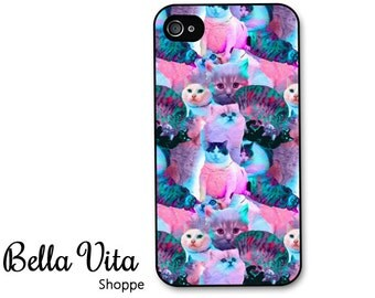 iPhone 4 Case - Colorful Cats iPhone 4s Case, iPhone 4 Protective Case, Cases for iPhone 4, Rubber iPhone Case (4058)