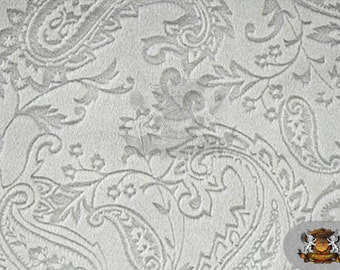 "Minky Cuddle Embossed Paisley 16 Silver/ 58"" Wide / Sold by the yard"