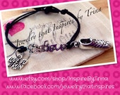 Script 'believe' with running shoe/love to run bracelet and tree of life button closure